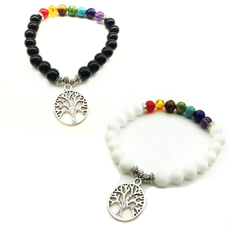 8mm Natural Rainbow 7 Chakra Beads Stone Bracelets Tree of Life Pendant Black White Stone Bracelet Stretch Yoga Jewelry