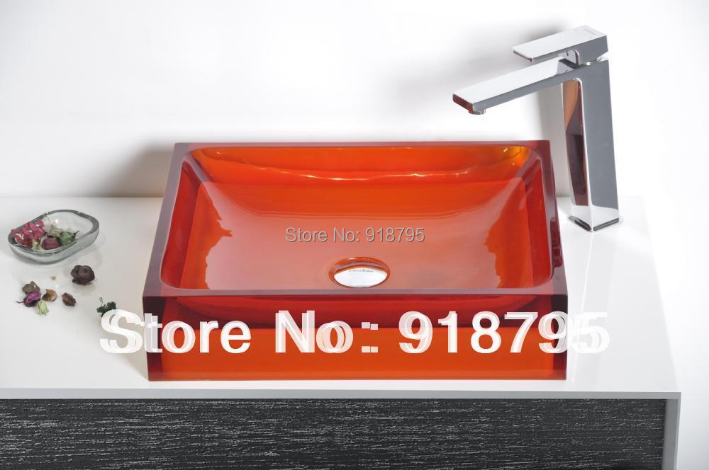 rectangular bauntildeo buque fregadero encimera de resina colorida aseo vanidad sobre el mostrador lavabo