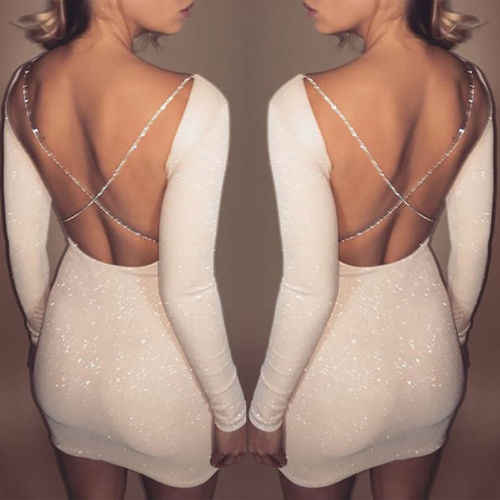 Seksi kadın Bodycon Bahar Backless Casual Backless Parti Madeni Pul Kokteyl Kısa Mini Elbise