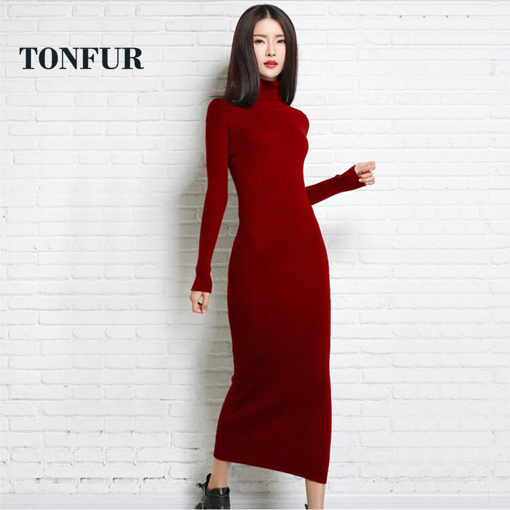 2019 new autumn and winter sexy long dress soft feminine long collar cashmere sweater female turtleneck