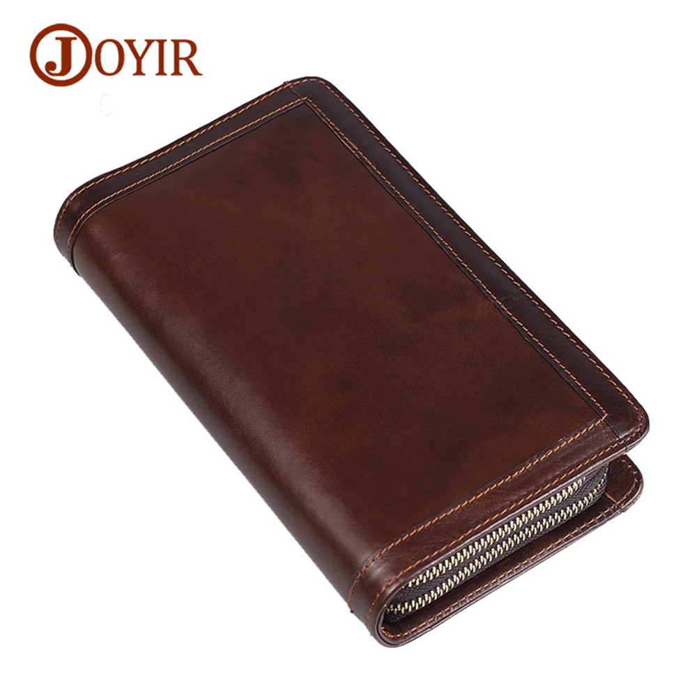 Joyir Double Zipper Men Wallets with Phone Bag Business Genuine Leather Clutch Wallet Male Purses Large Capacity Men's handbags