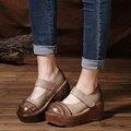 2017 New Arrival Vintage Women High Heel Shoes Platform Pumps Genuine Leather Wedges Shoes