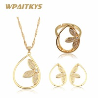 Women Adjustable Ring Jewelry set Gold Color Clover S Necklaces & Earrings for Women Birthday Gifts