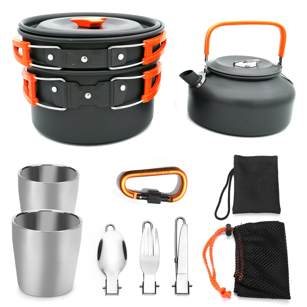 11Pcs Aluminium Alloy Outdoor Tableware Travel Spoon and Fork Set Cooking Pots Pans with Foldable Cup