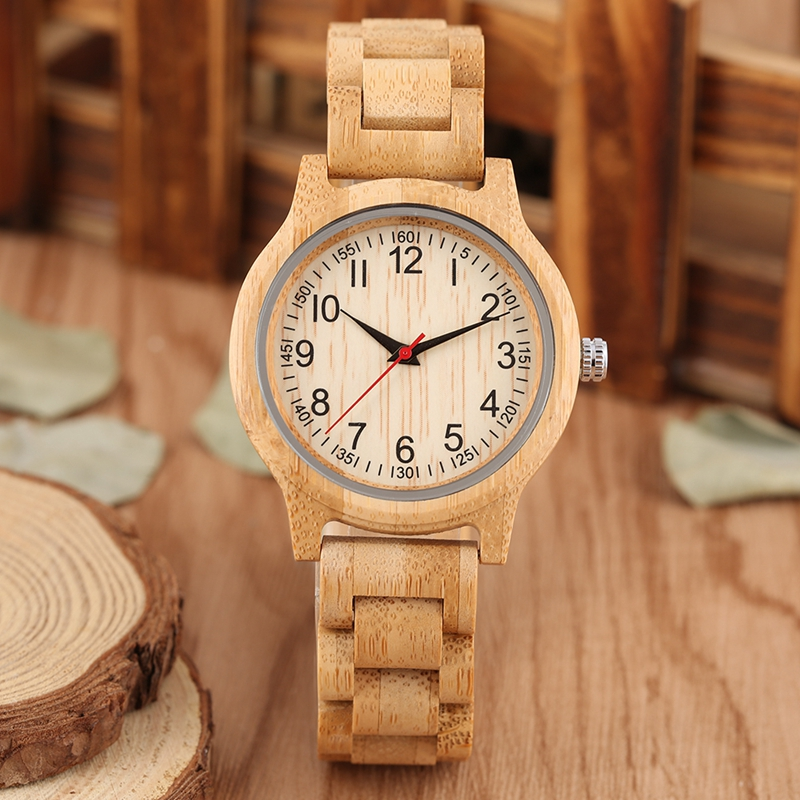 Image 2 - Women Wood Watch Natural All Bamboo Wood Clock Watches Top Brand Luxury Quartz Ladies Dress Watch Wooden Bangle as Best GiftsWomens Watches   -