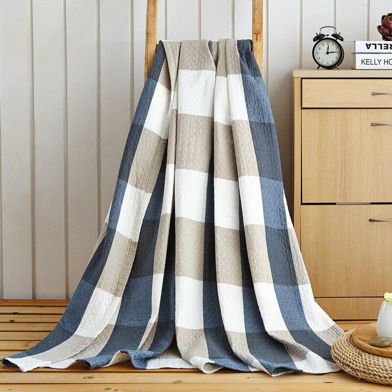 Estilo clásico grandes cuadros gasa de algodón manta toalla ...