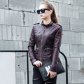 2017 spring new stand collar pu leather jacket women short slim motorcycle jacket black red biker leather jackets U108499