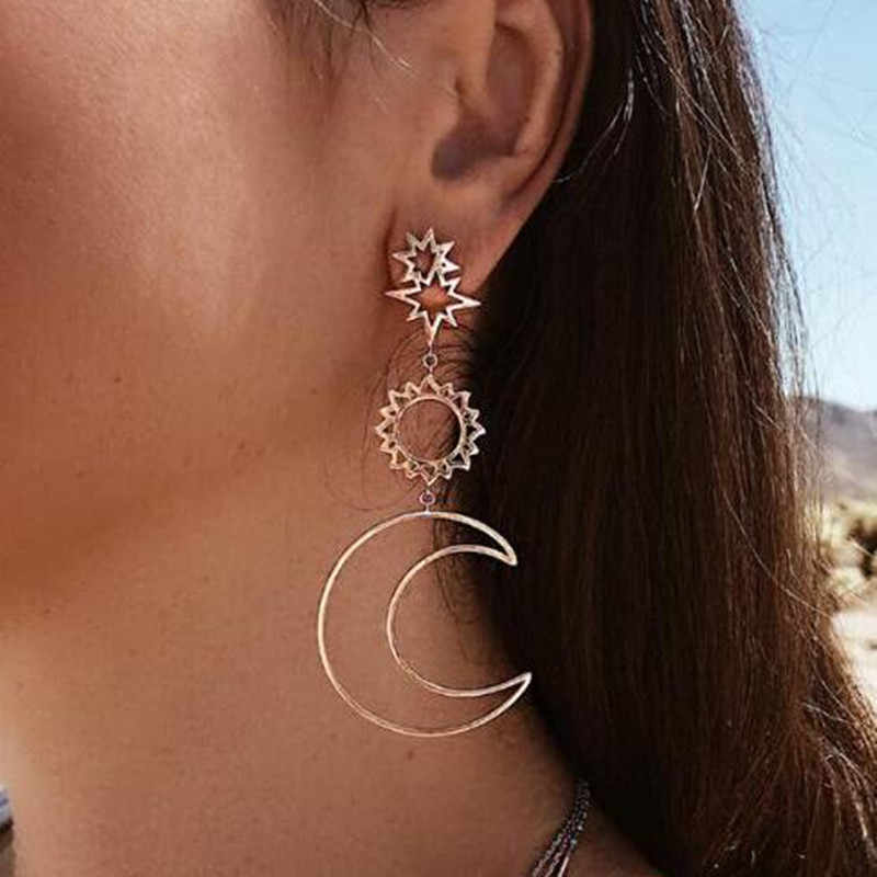 2018 Women Fashion Earrings Bohemian Hollow Moon Sun Assymetric Drop Earrings Personalized Statement Dangling Earrings For Brinc