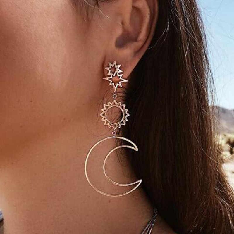 2018 Women Fashion Earrings Bohemian Hollow Moon Sun Assymetric Drop Earrings Personalized Statement Dangling Earrings For Brinc