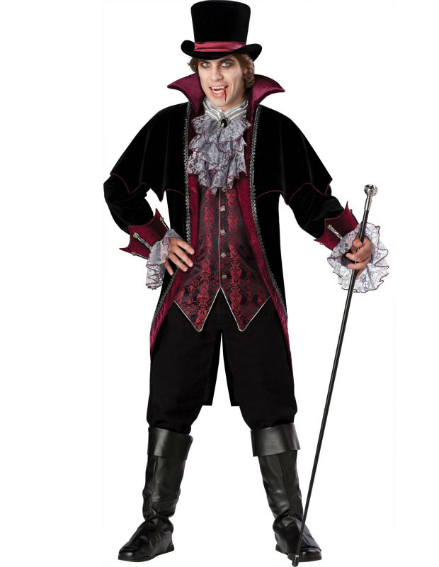 2014 New Adult Mens Halloween Party Dracula Vampire Costumes Outfit Fancy Devil Cosplay Dresses With Hat