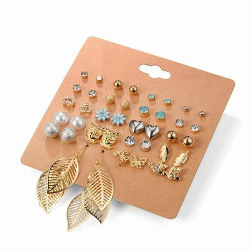 Cute 20 Pairs A Set  Brincos Mixed Stud Earrings Irregular Crystal Simulated Pearl Ear Studs Earrings fashion Jewelry for Women
