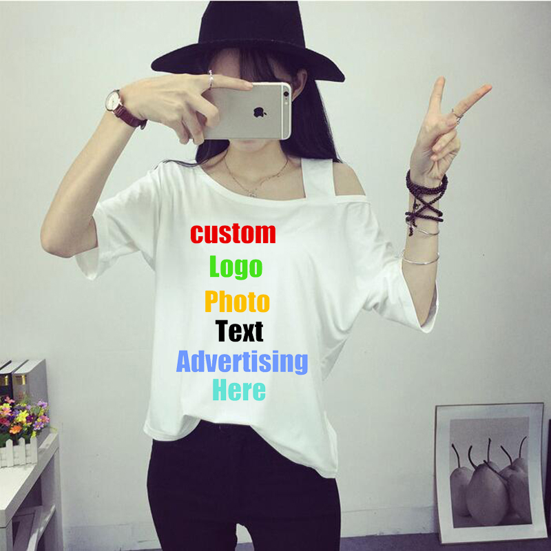 2018 Summer Custom Logo Photo Print Sexy Off Shoulder T shirt Women Tops Tshirts Female Camisetas Solid Loose Girl Femme T-shirt