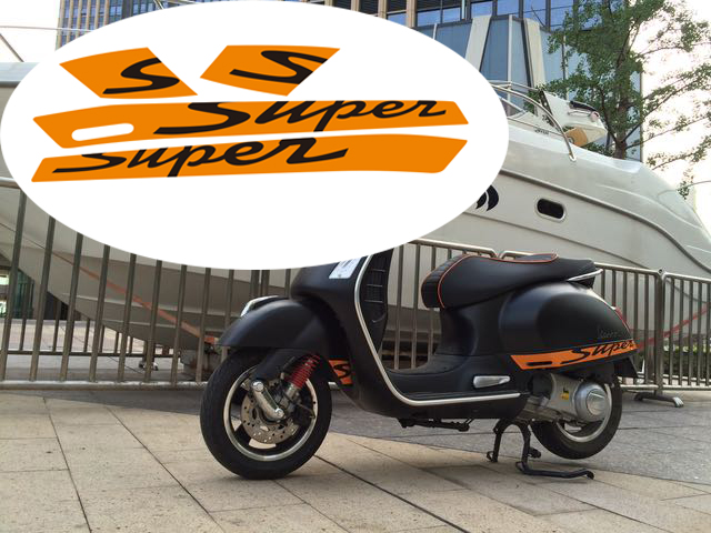 KODASKIN 2D Decal Sticker Super For Vespa GTS300 Sport Fits Gts With The Two Long Vents In Each Panel
