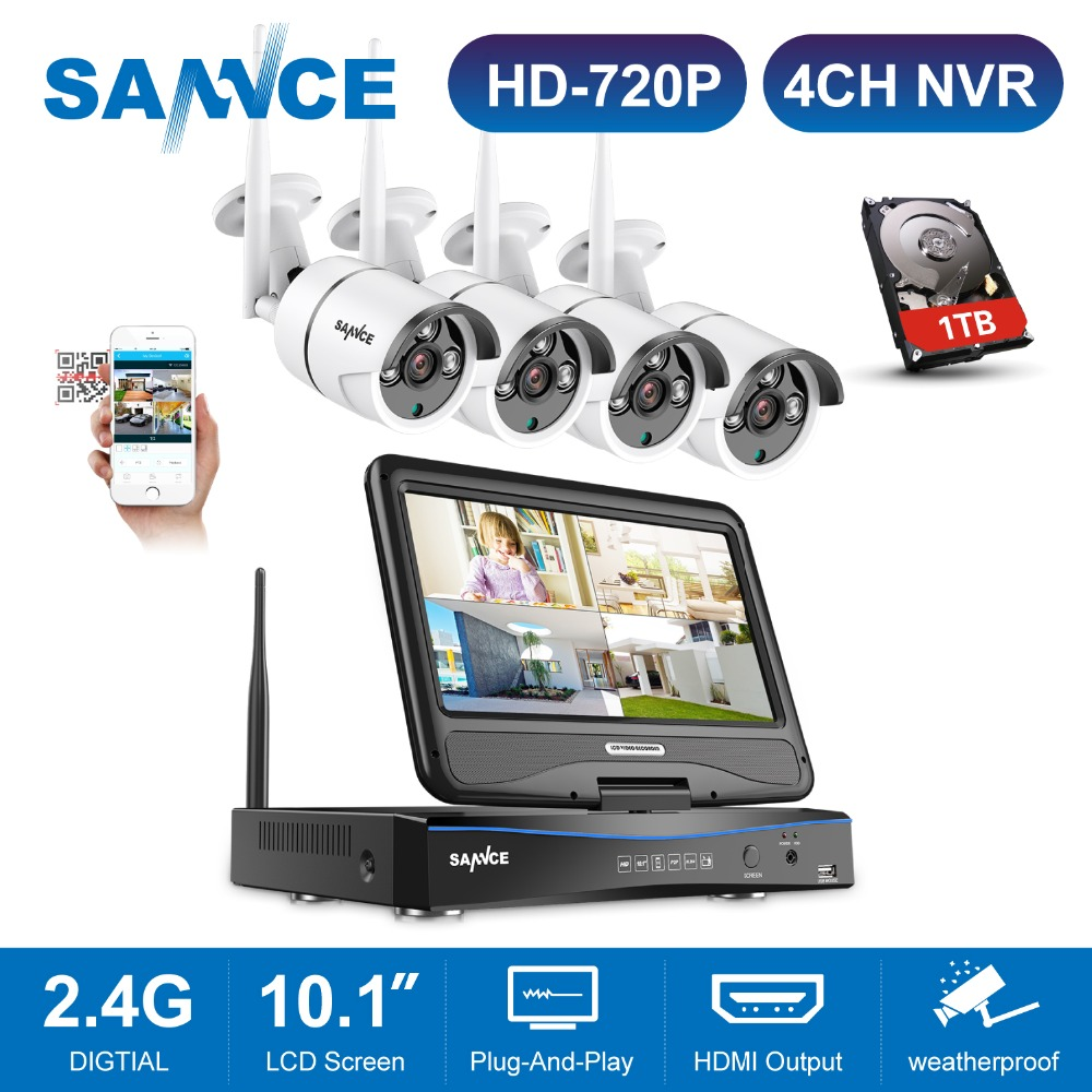 SANNCE 4CH Wireless Wifi 720P Video Security System With 10.1inch LCD Screen 2MP H.264 NVR With 1MP Outdoor Weatherproof IP Cam