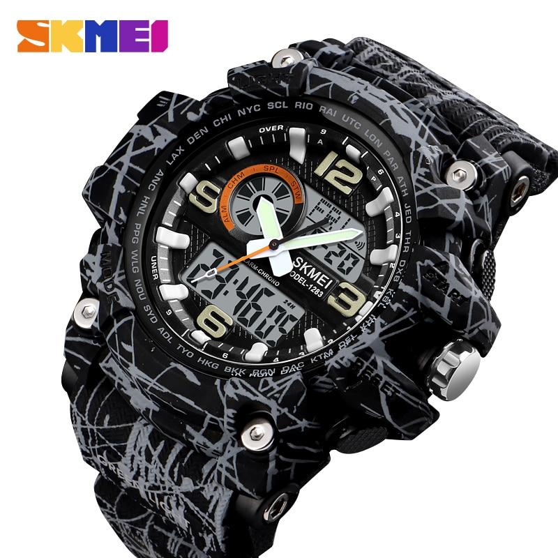 SKMEI nouveau S choc hommes montres de sport grand cadran Quartz montre numérique pour hommes marque de luxe LED militaire étanche hommes montres-bracelets