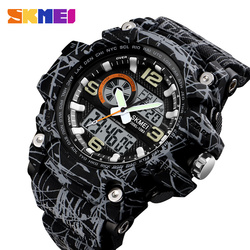 Skmei novo s choque masculino esportes relógios grande dial relógio digital de quartzo para homens marca luxo led militar à prova dwaterproof água