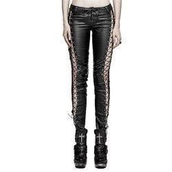 Стимпанк готический искусственная кожа выдалбливают вертикальные полосы леггинсы для женщин панк черные сексуальные с низкой талией женс...