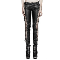Steampunk Gothic PU Leather Hollow Out Vertical Stripe Leggings For Women Punk Black Sexy Low Waisted Women Skinny Trousers