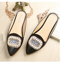 Plus Size (33-43) 2016 fashion Luxurious flat Sandals Casual women sandal ladies flat shoes Crystal Pearls Slippers