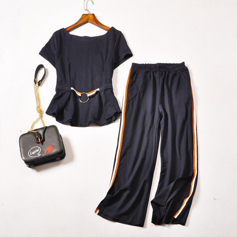 3XL Loose Ladies Casual Tracksuit Women Two Piece Set Side Striped Womens Pants Set Plus Size Ladies Pantsuit Designs Blue ...