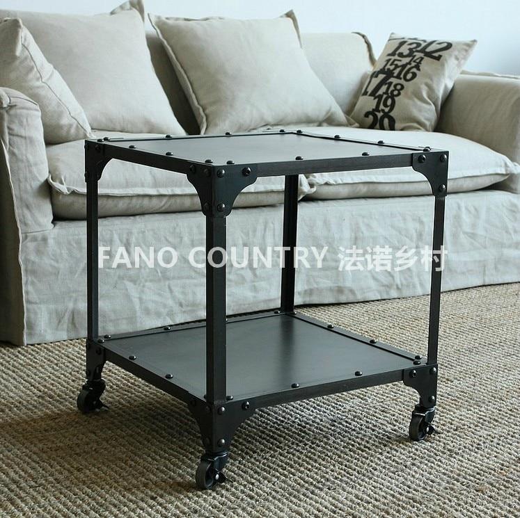 Coffee Table Minimalist Retro: Iron Side Table LOFT Industrial Wind Wheel Coffee Table