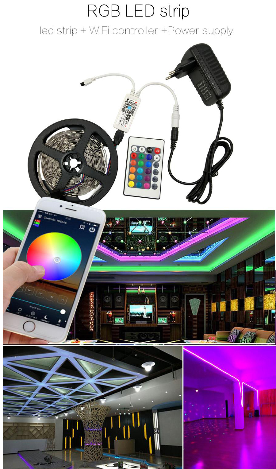HTB1O2Gwcq5s3KVjSZFNq6AD3FXap WIFI LED Strip light 10M 5M SMD RGB 2835 5050 diode led tape ribbon Waterproof led tape and remote controller with adapter set