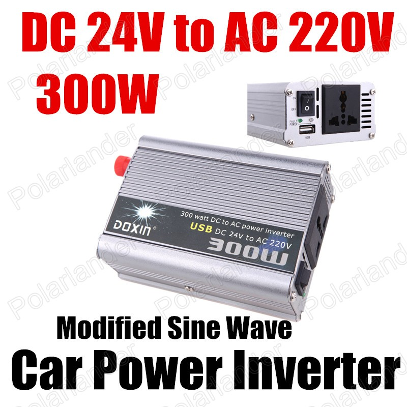 300W Portable Car Automotive Power Inverter Charger Converter DC 24V to AC 220V voltage transformer Modified