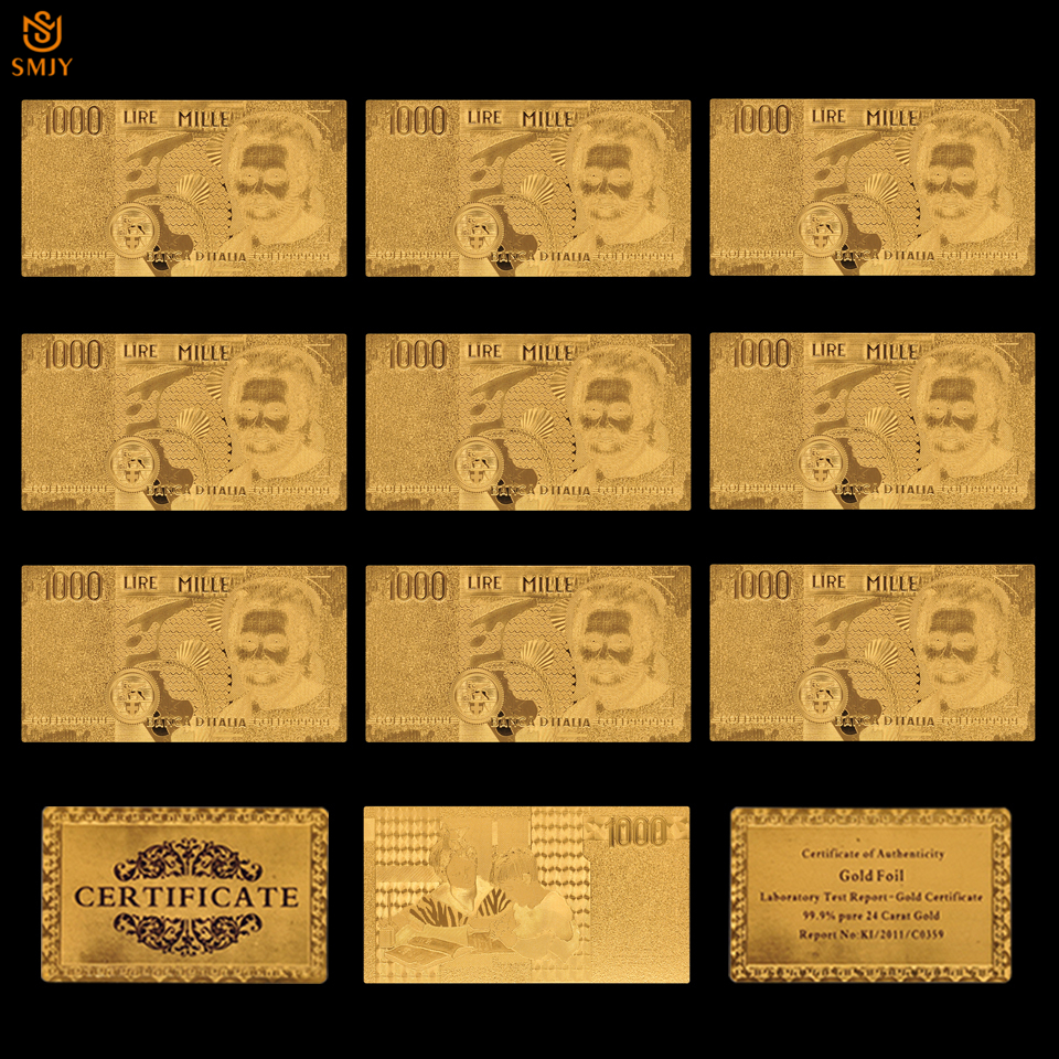 10Pcs/Lot Wholesale Italian Gold Foil <font><b>Banknote</b></font> Paper Money <font><b>1000</b></font> Lira <font><b>Euro</b></font> For Currency Collection And Business Gifts image