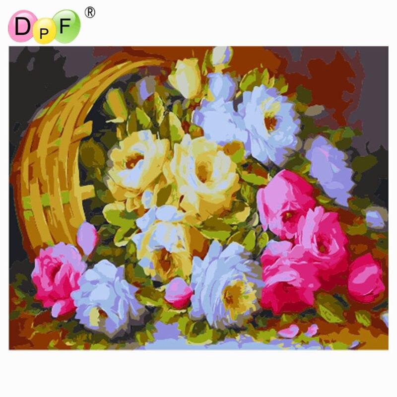 DPF DIY oil Painting Peony flower basket Paint On Canvas Acrylic ...