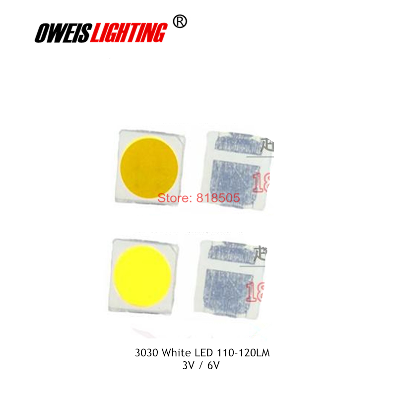 50PCS 3030 WHITE LED 110-120LM (3V-300mA/6V-150mA) branco 6000-6500k warm white 2800-3200k natural 4000-4500k super bright