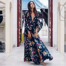e77816f7446 2019 Spring Summer Ukraine Women s Dress Floral Printed Ethnic Vintage  Hippie Chic Boho Beach Dresses Bohemian