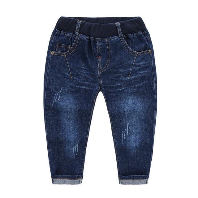 2017 весной новый мальчик джинсы детские джинсовые одиночные-брюки задний карман двойной V джинсовые брюки