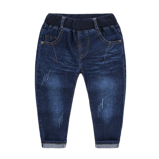 2017 spring the new  boy jeans baby stretch denim single-pants back pocket double V denim pants