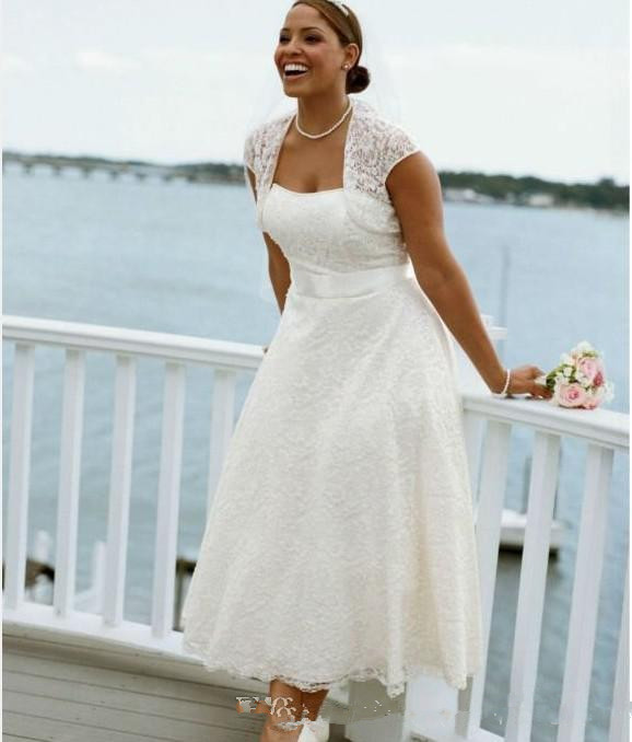 Wedding Gowns For The Mature Bride: New Style Strapless Tea Length Lace Short Sleeve Plus Size