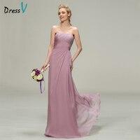 Dressv طويل فستان العروسة حمالة الرقبة أكمام غمد الشيفون أنيقة الطيات حفلة الزفاف ثوب العروسة فستان مخصص