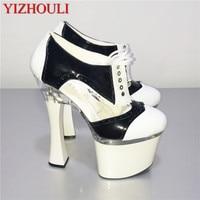 Classics Black/White Women's Single Shoes 18CM Thick High Heeled Shoes sexy Platform Shoes 7 Inch Ankle Strap color block Pumps