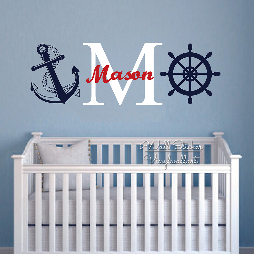 Children Name Wall Decal Baby Nursery Name Wall Sticker Anchor Helm Boys Name Wall Sticker Kids Room Cut Vinyl Sticker C42