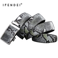 IFENDEI Mens Snake Automatic Belt Waist Luxury Genuine Leather Snake Belts For Men Designer Green Black Brown Strap High Quality