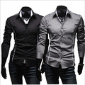 Free  Shipping Men's Fashion cropped striped Individual Edge Slim Casual Long Sleeve Shirt Wholesale