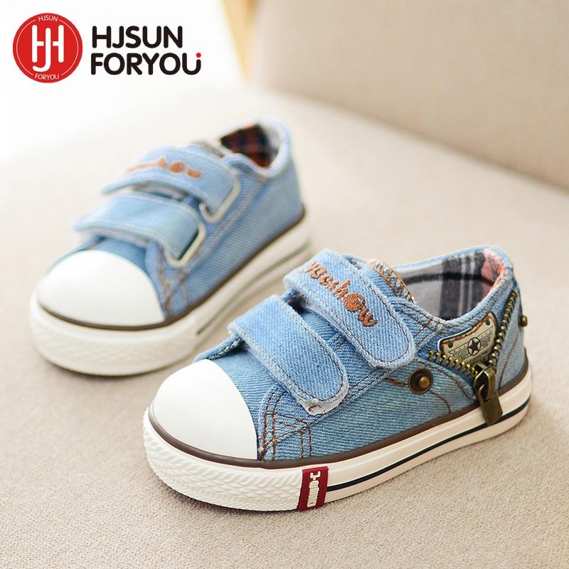 2019 børn lærredsko mode sneakers denim baby flad sko børn komfortable sportssko