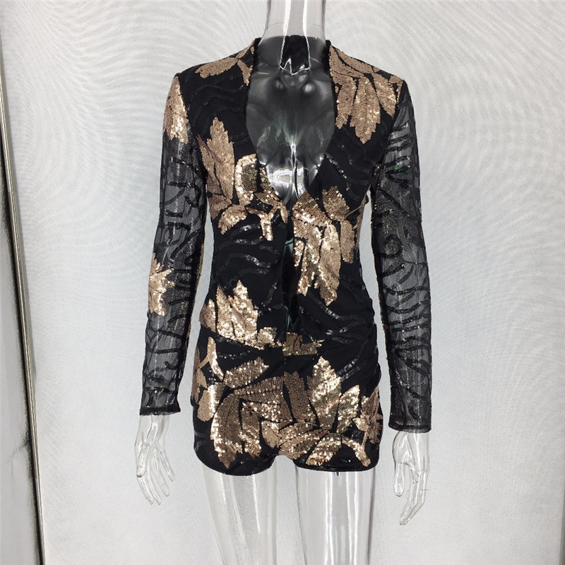 a0cf00de9085f8 Sexy Sequin Black Two Piece Set 2018 Long Sleeve Gold Leaves Patterns  Sequins Fashion Outfit 2 Piece Jacket Shorts Set Club Wear-in Women's Sets  from ...