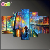 3D Square 100 Full Diamond Painting Rhinestone Craft Mosaic Diamond Embroidery Cross Stitch Colorful Scenery Painting