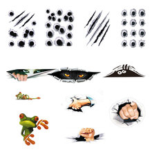 12 Car Body Stickers 3D Car Stickers Simulation Bullet Hole Voyeur Girl/boy Finger Pattern Big Eye Auto Products Car Accessories(China)