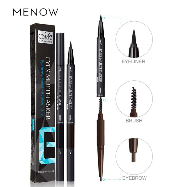 liquid eyeliner brush. menow new pro 3 in 1 waterproof liquid eyeliner pencils with brow brush double-end