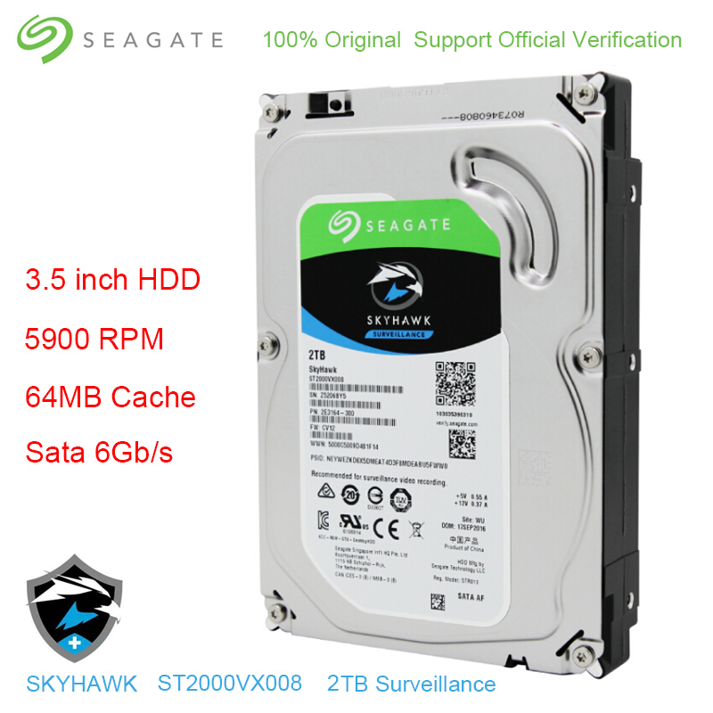 Original Seagate Internal HDD 2TB Skyhawk Video Surveillance Hard Drive Disk 3 5 5900 RPM SATA