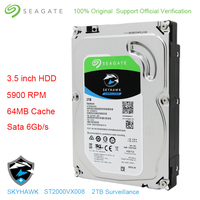 Original Seagate Internal HDD 2TB Skyhawk Video Surveillance Hard Drive Disk 3.5 5900 RPM SATA 6Gb/s 64MB Cache ST2000VX008