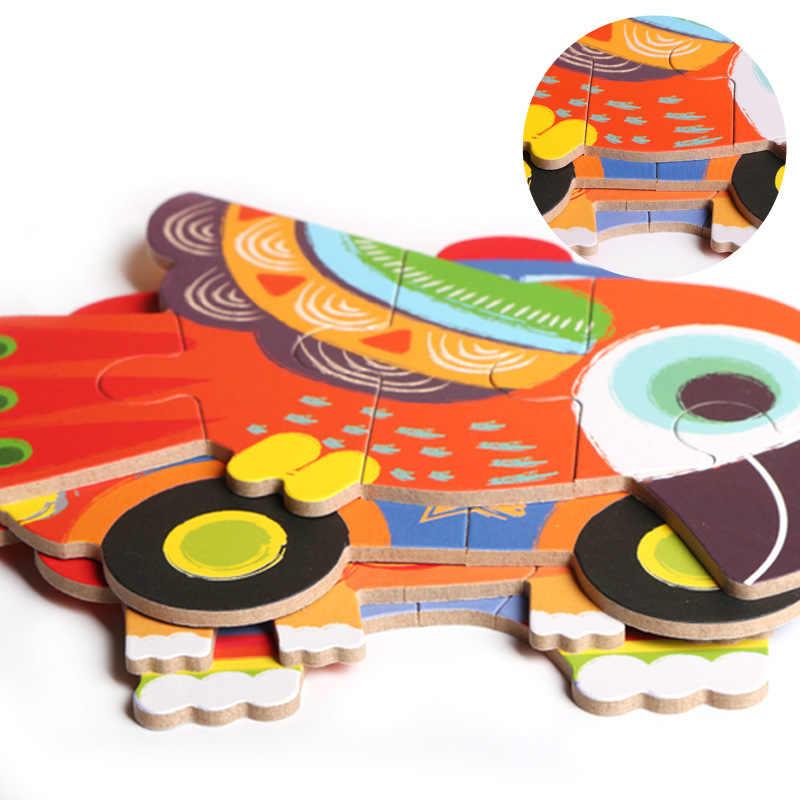 Dibujos animados de niños 6 en 1 estaño 3D animal de dibujos animados/transporte niños rompecabezas de madera Montessori temprano la educación de juguete de madera
