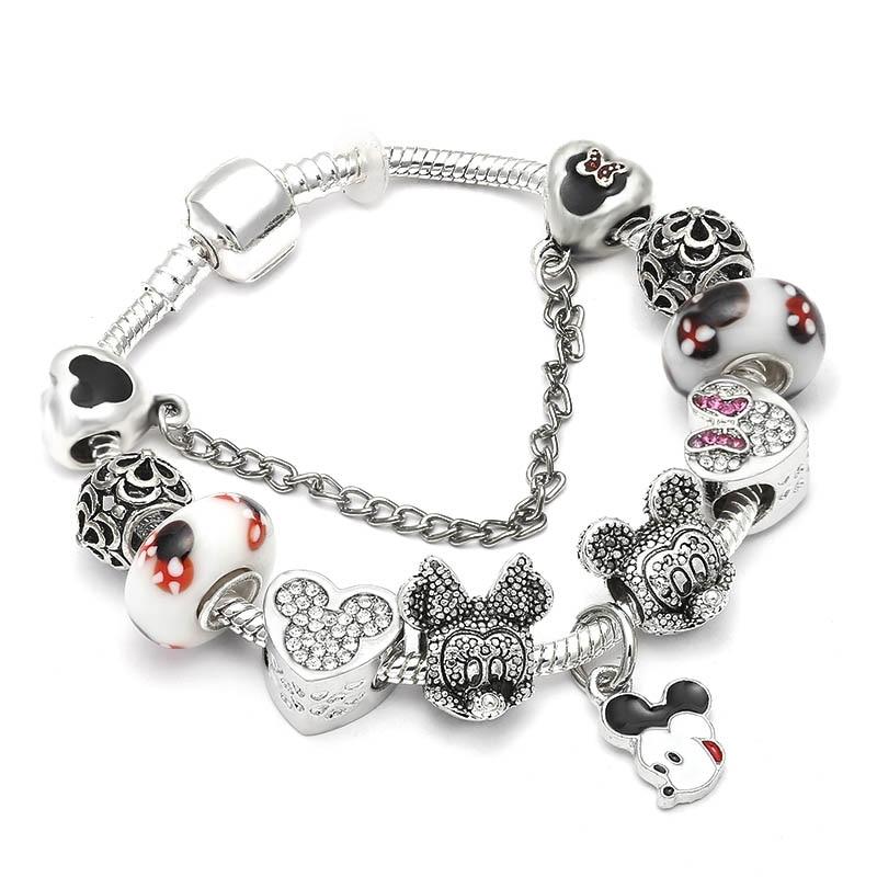 19a8093255a3e Vintage Silver Color Charm Bracelet with Tree of life Pendant & Gold  Crystal Ball Pandora Bracelet ...
