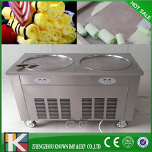 Double round pan rolled fried ice cream making machine with pedal defrost