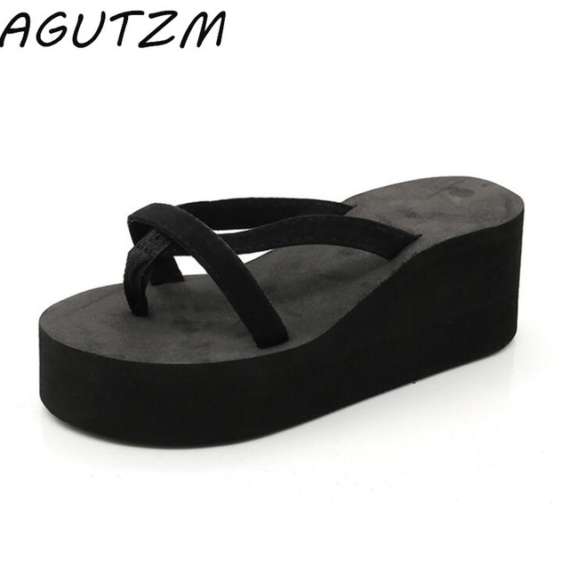 735f8bf45a6e AGUTZM Summer Women Slides Casual Solid Black Blue Wedges Flip Flops  Outdoor Slippers Platform Shoes